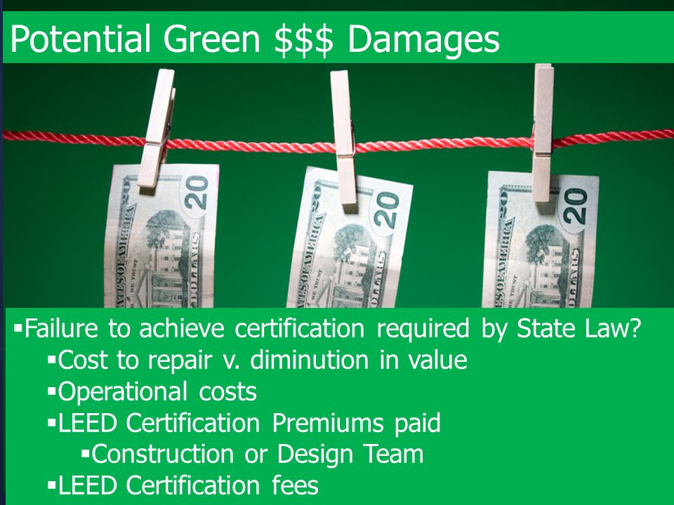 Potential Green $$$ Damages  Failure to achieve certification required by State Law?  Cost to repair v. diminution in value  Operational costs  LE