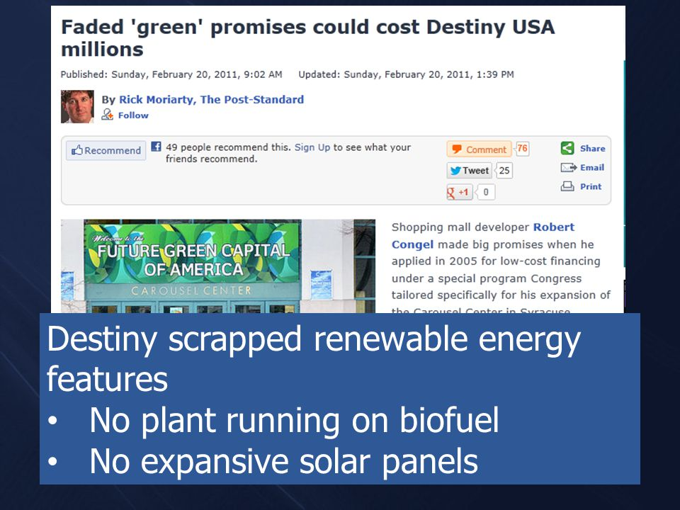 Destiny scrapped renewable energy features No plant running on biofuel No expansive solar panels