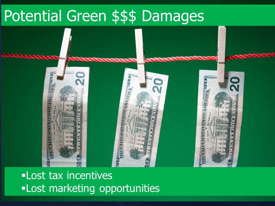 Potential Green $$$ Damages  Lost tax incentives  Lost marketing opportunities