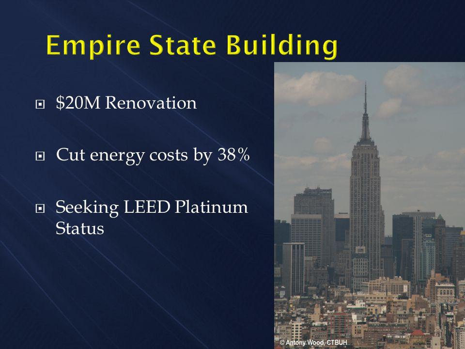  $20M Renovation  Cut energy costs by 38%  Seeking LEED Platinum Status