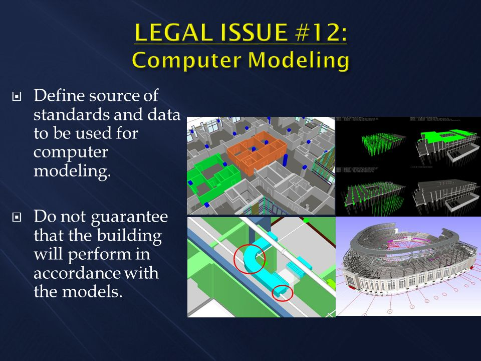  Define source of standards and data to be used for computer modeling.  Do not guarantee that the building will perform in accordance with the model