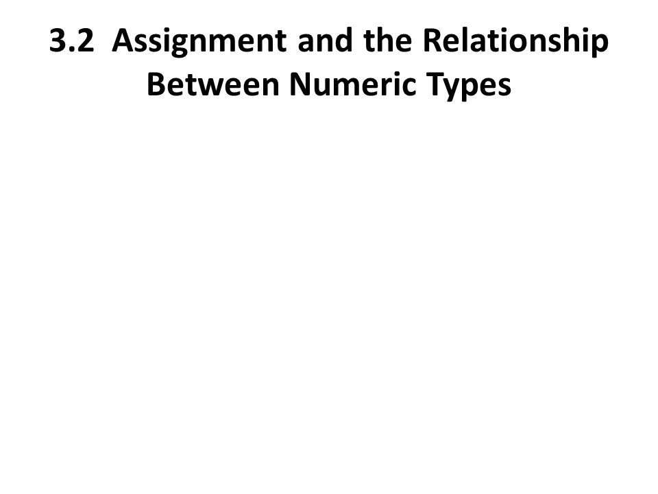 3.2 Assignment and the Relationship Between Numeric Types