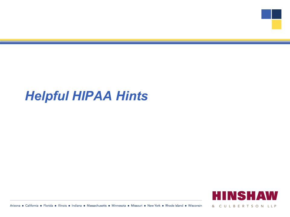 Helpful HIPAA Hints