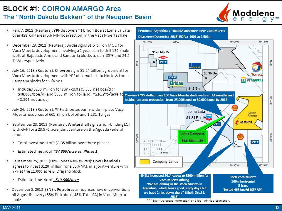 "BLOCK #1: COIRON AMARGO Area The ""North Dakota Bakken"" of the Neuquen Basin 13 MAY 2014  Feb. 7, 2012 (Reuters): YPF discovers ~1 billion Boe at Loma"