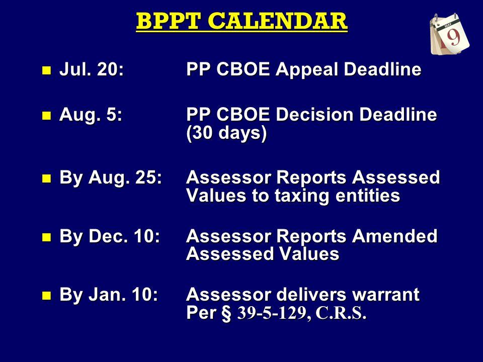 BPPT CALENDAR Jul. 20:PP CBOE Appeal Deadline Jul.