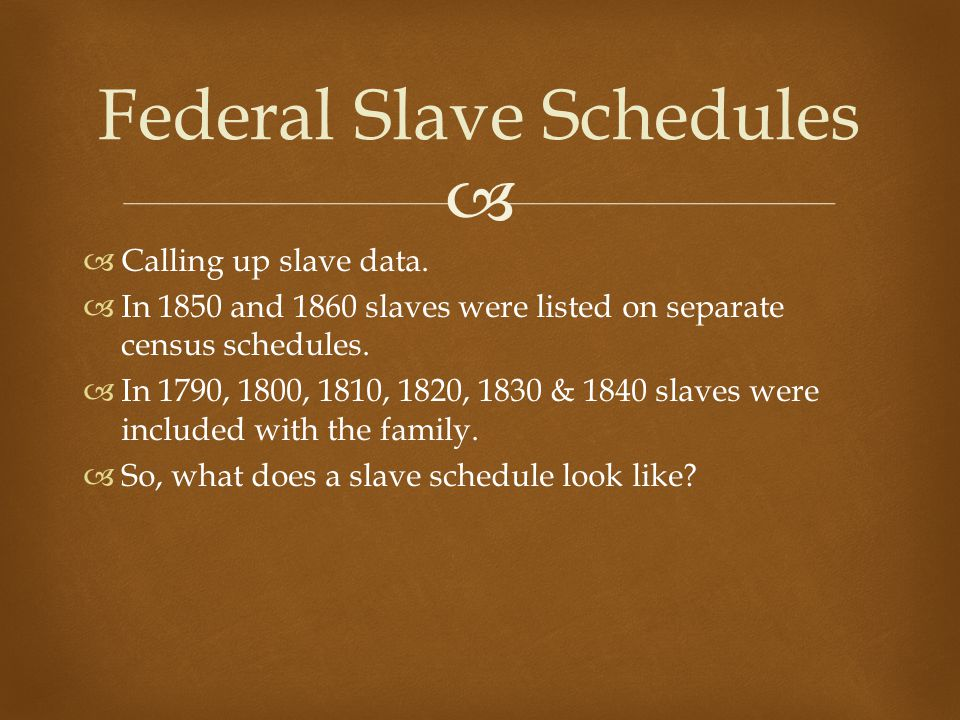   Calling up slave data.  In 1850 and 1860 slaves were listed on separate census schedules.