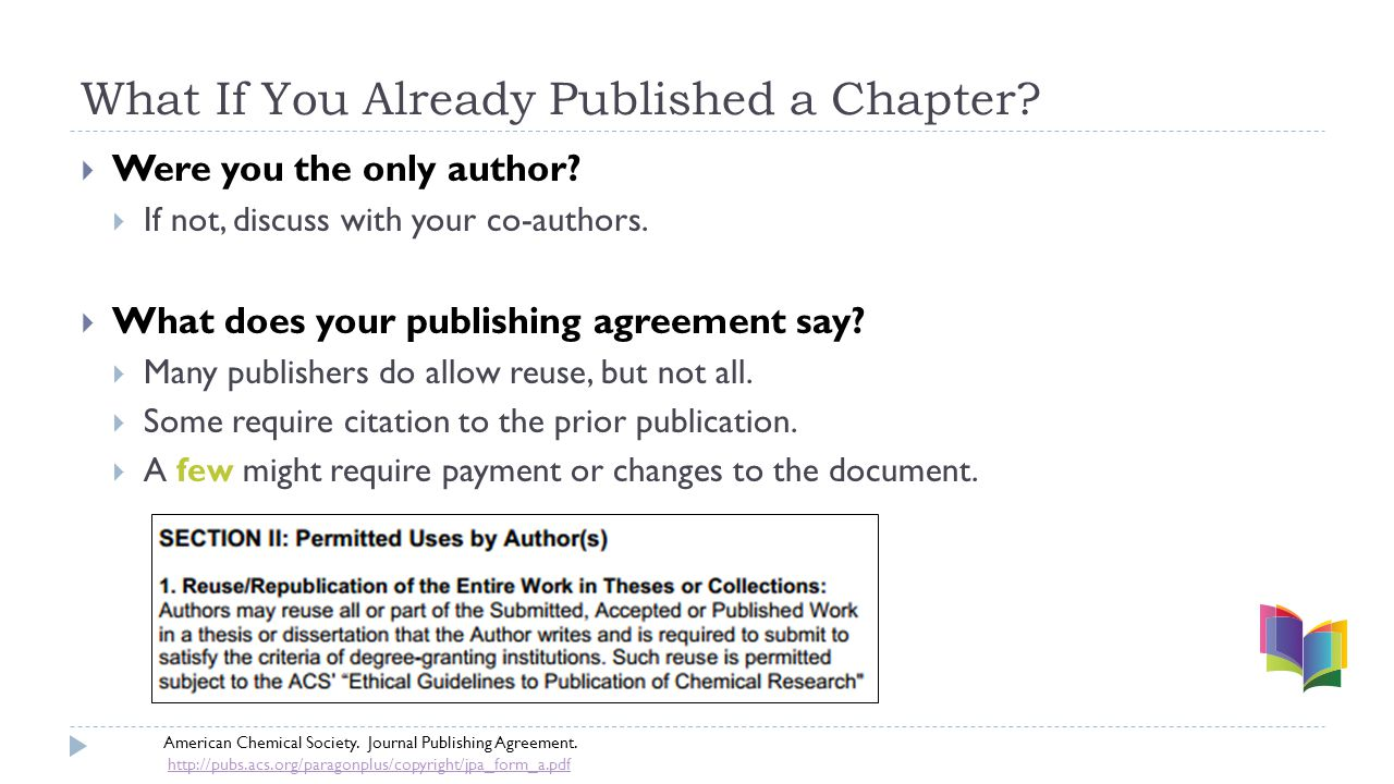 What If You Already Published a Chapter.  Were you the only author.