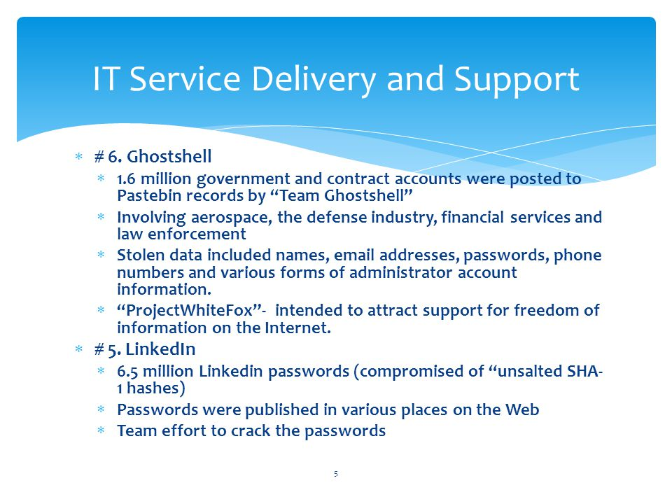 IT Service Delivery and Support 6  4.