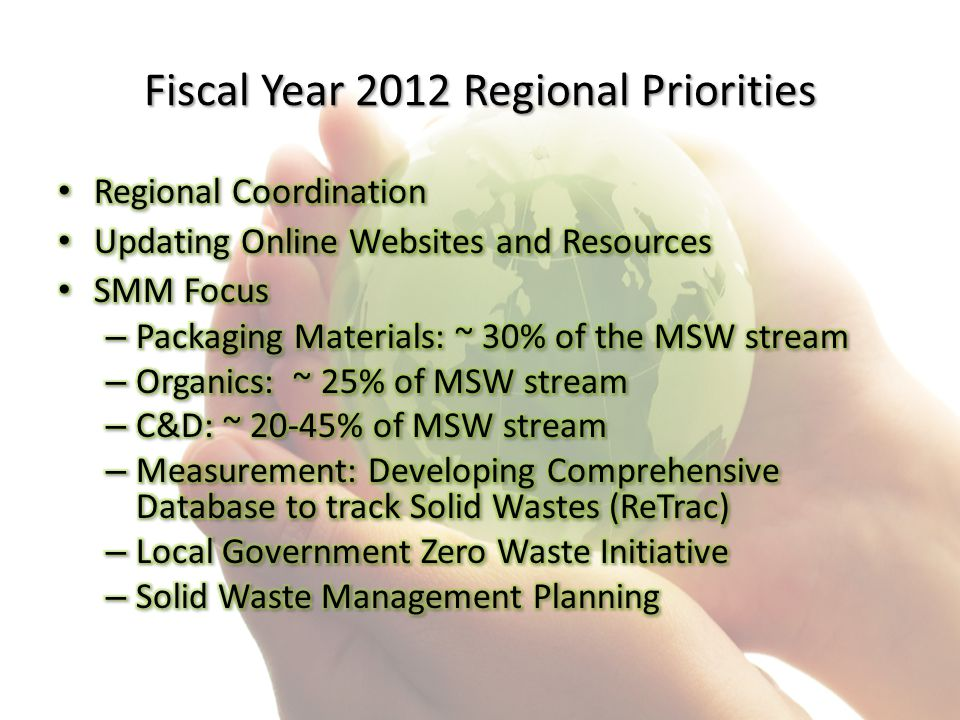 Fiscal Year 2012 Regional Priorities
