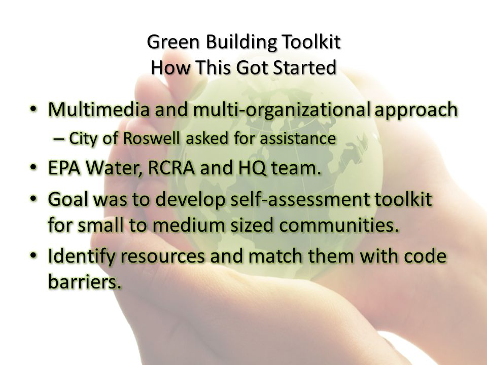 Green Building Toolkit How This Got Started