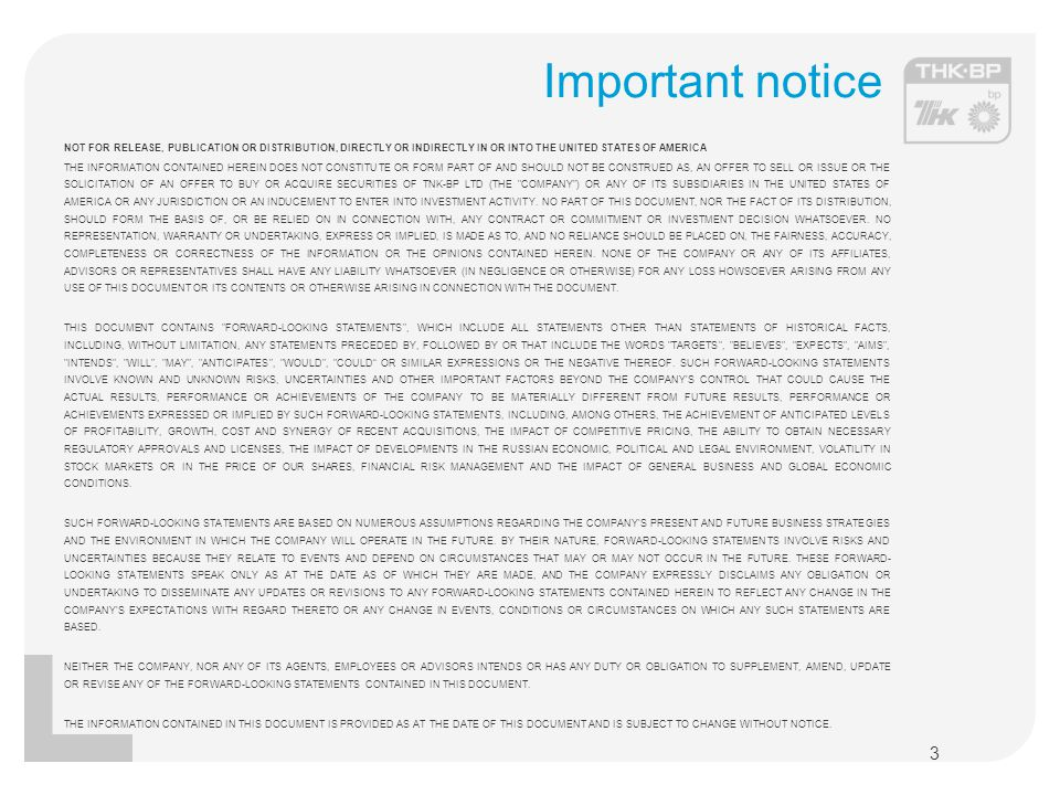 Important notice NOT FOR RELEASE, PUBLICATION OR DISTRIBUTION, DIRECTLY OR INDIRECTLY IN OR INTO THE UNITED STATES OF AMERICA THE INFORMATION CONTAINE