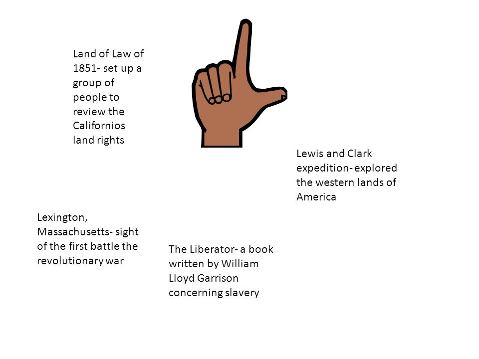 Land of Law of 1851- set up a group of people to review the Californios land rights Lewis and Clark expedition- explored the western lands of America