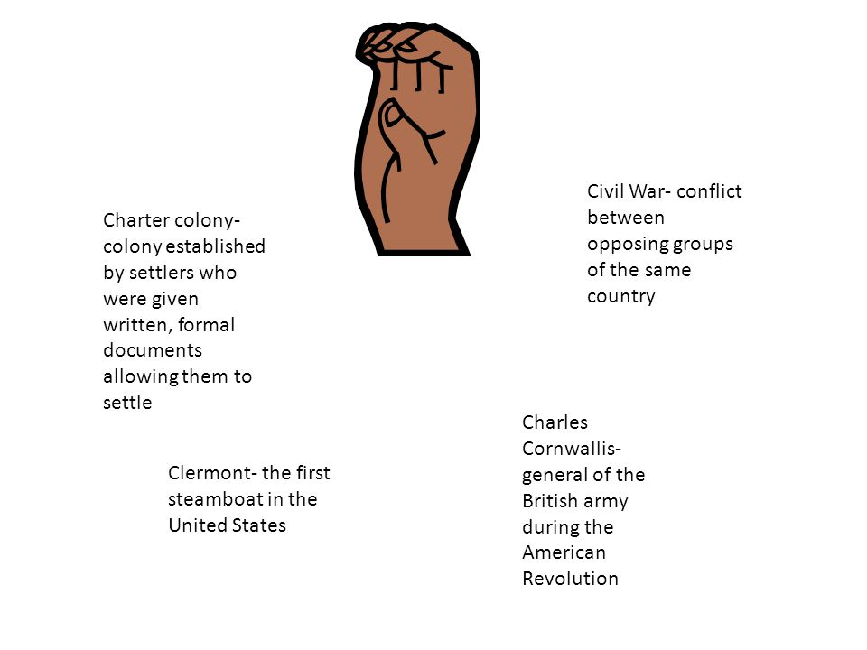 Charter colony- colony established by settlers who were given written, formal documents allowing them to settle Civil War- conflict between opposing groups of the same country Clermont- the first steamboat in the United States Charles Cornwallis- general of the British army during the American Revolution