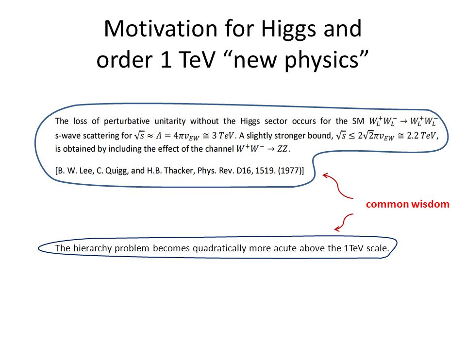 """Motivation for Higgs and order 1 TeV """"new physics"""" The hierarchy problem becomes quadratically more acute above the 1TeV scale. common wisdom"""
