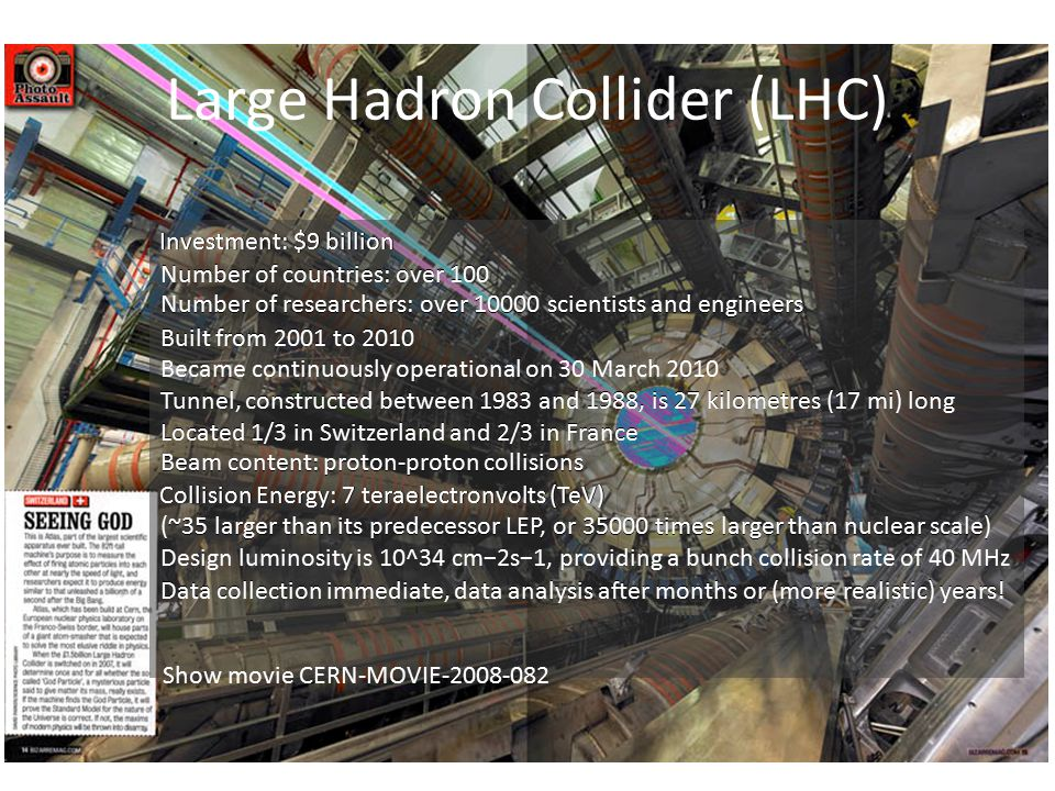 Large Hadron Collider (LHC) Investment: $9 billion Number of countries: over 100 Number of researchers: over 10000 scientists and engineers Built from 2001 to 2010 Became continuously operational on 30 March 2010 Tunnel, constructed between 1983 and 1988, is 27 kilometres (17 mi) long Located 1/3 in Switzerland and 2/3 in France Beam content: proton-proton collisions Collision Energy: 7 teraelectronvolts (TeV) (~35 larger than its predecessor LEP, or 35000 times larger than nuclear scale) Design luminosity is 10^34 cm−2s−1, providing a bunch collision rate of 40 MHz Data collection immediate, data analysis after months or (more realistic) years.