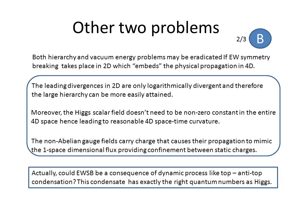 """Other two problems Both hierarchy and vacuum energy problems may be eradicated If EW symmetry breaking takes place in 2D which """"embeds"""" the physical p"""