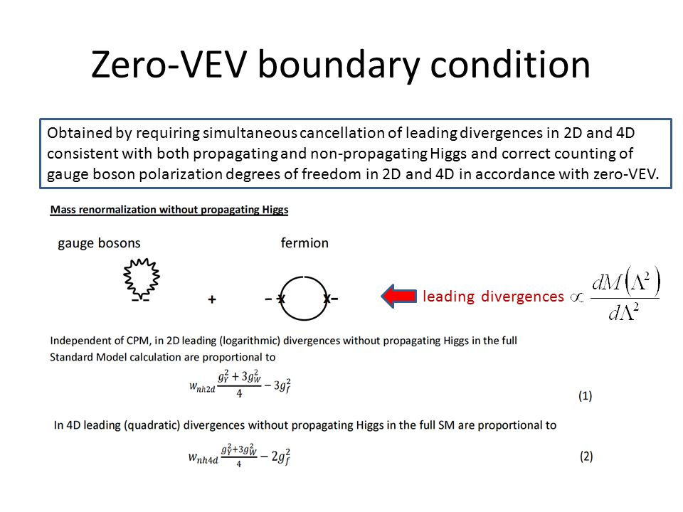 Zero-VEV boundary condition Obtained by requiring simultaneous cancellation of leading divergences in 2D and 4D consistent with both propagating and non-propagating Higgs and correct counting of gauge boson polarization degrees of freedom in 2D and 4D in accordance with zero-VEV.