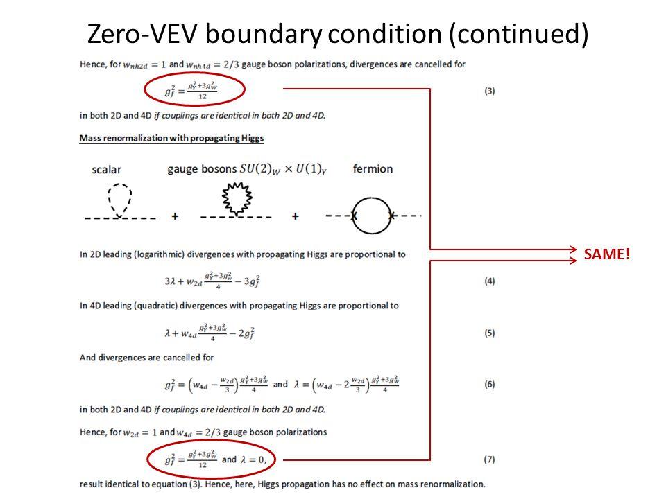 Zero-VEV boundary condition (continued) SAME!