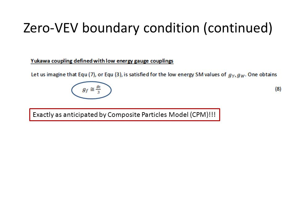 Zero-VEV boundary condition (continued) Exactly as anticipated by Composite Particles Model (CPM)!!!