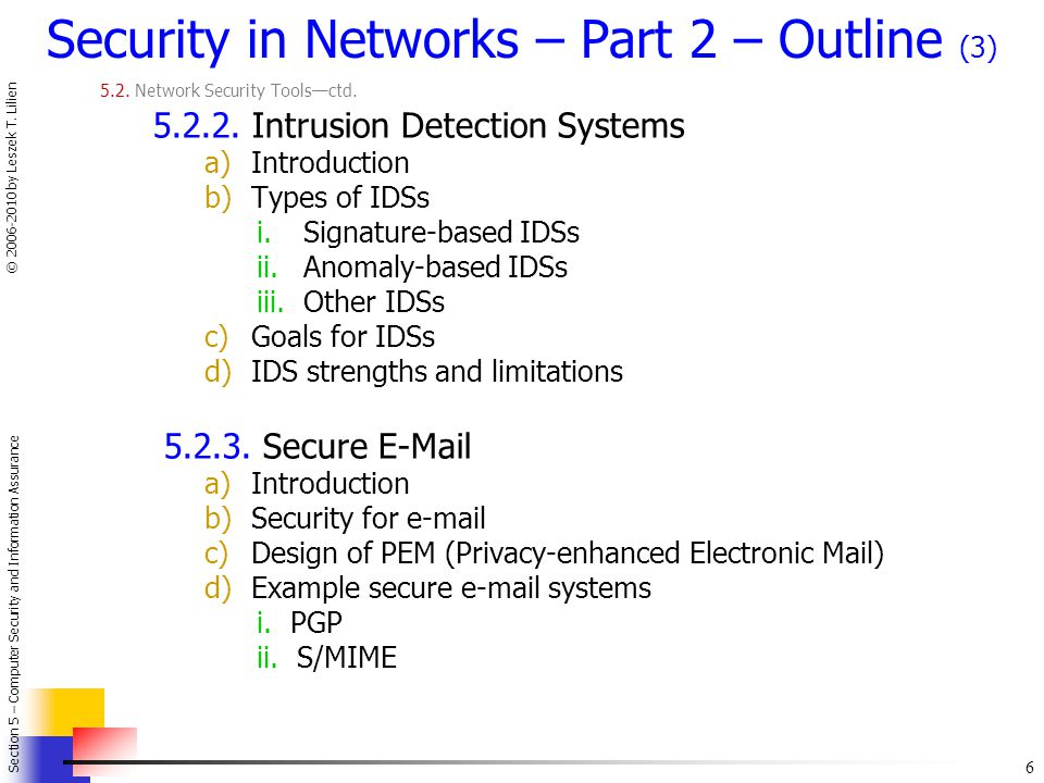 6 Section 5 – Computer Security and Information Assurance © 2006-2010 by Leszek T.