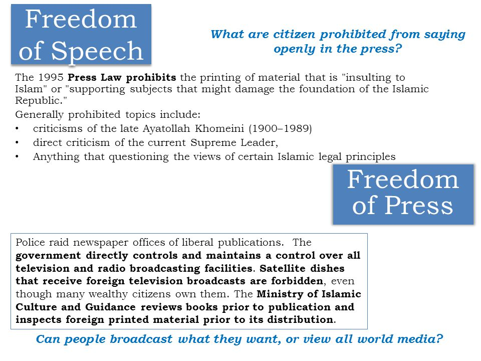 Freedom of Press Freedom of Speech The 1995 Press Law prohibits the printing of material that is insulting to Islam or supporting subjects that might damage the foundation of the Islamic Republic. Generally prohibited topics include: criticisms of the late Ayatollah Khomeini (1900–1989) direct criticism of the current Supreme Leader, Anything that questioning the views of certain Islamic legal principles Police raid newspaper offices of liberal publications.