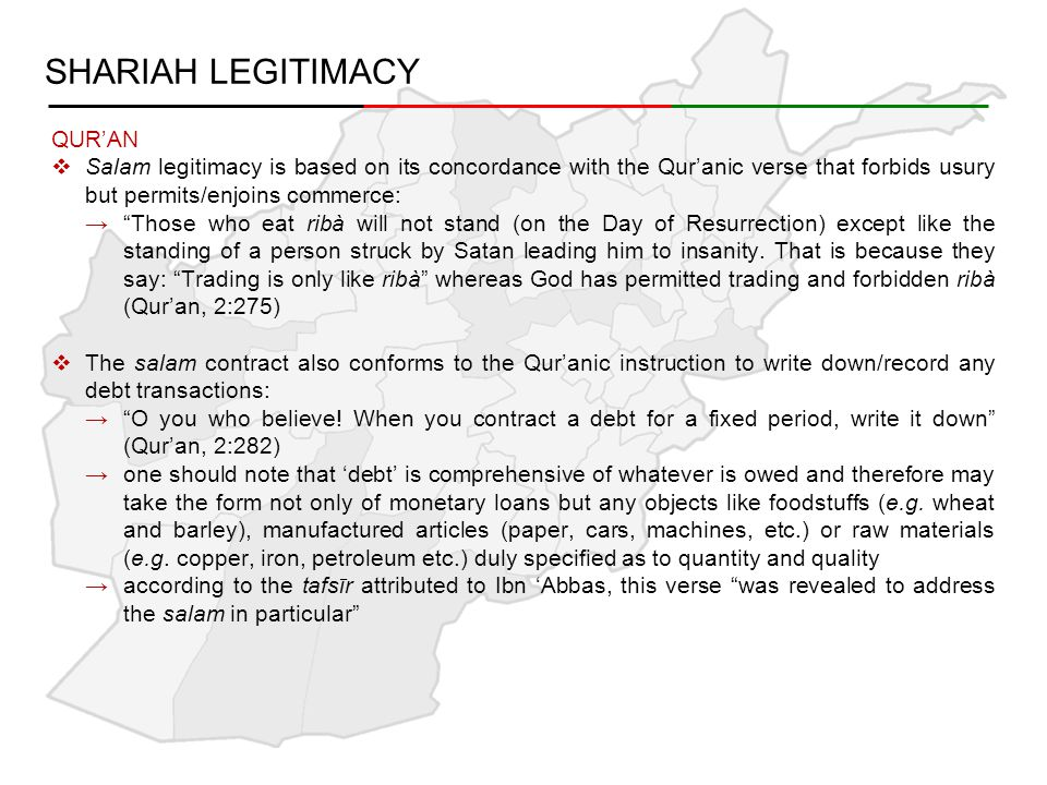 SALAM COMBINED WITH MURABAHAH  Musallim can sell the salam commodity to the musallam 'alayhi on murabahah, subject to the following terms: →salam agreement and murabahah agreement should be independent, not contingent and with free will of the parties →murabahah will be executed after taking possession of the salam goods →musallim shall assume the risk of loss by taking delivery and execution of the murabahah →musallim cannot take undertaking from the musallam 'alayhi that it will purchase the salam commodity from bank on a murabahah basis
