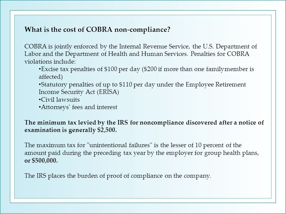 What is the cost of COBRA non-compliance.
