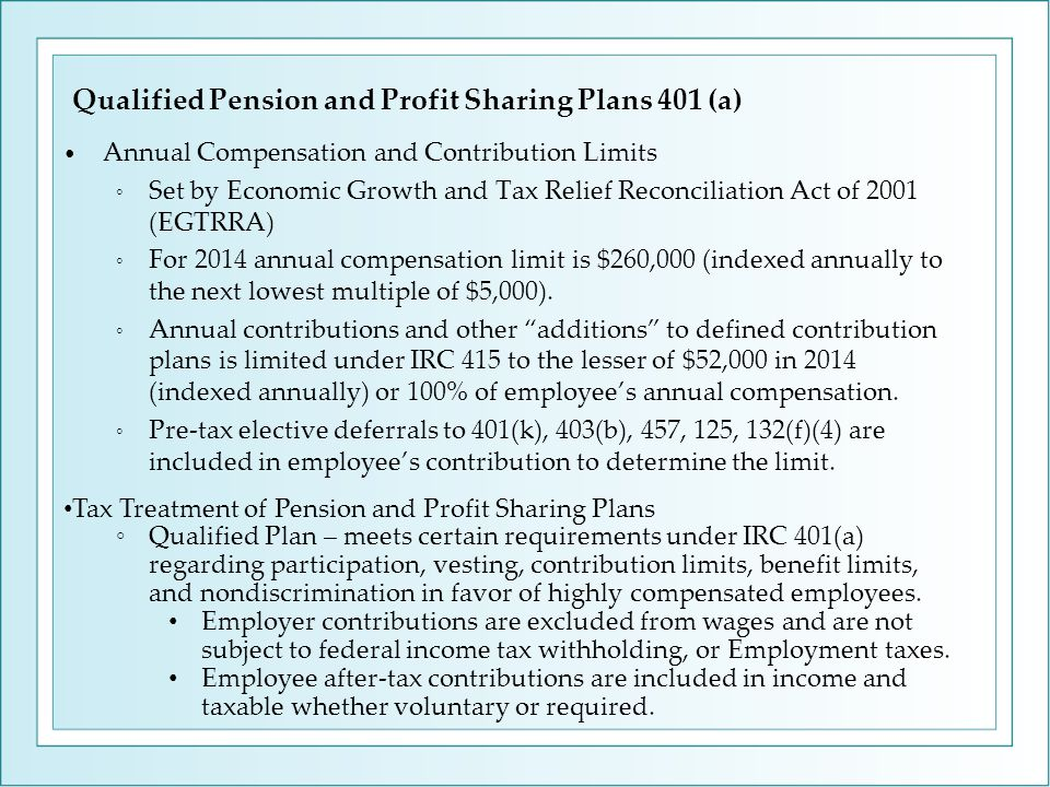Annual Compensation and Contribution Limits ◦ Set by Economic Growth and Tax Relief Reconciliation Act of 2001 (EGTRRA) ◦ For 2014 annual compensation limit is $260,000 (indexed annually to the next lowest multiple of $5,000).