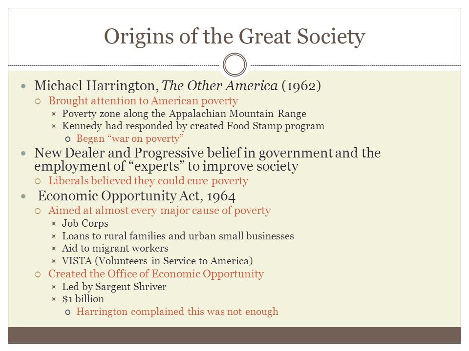 Origins of the Great Society Michael Harrington, The Other America (1962)  Brought attention to American poverty  Poverty zone along the Appalachian