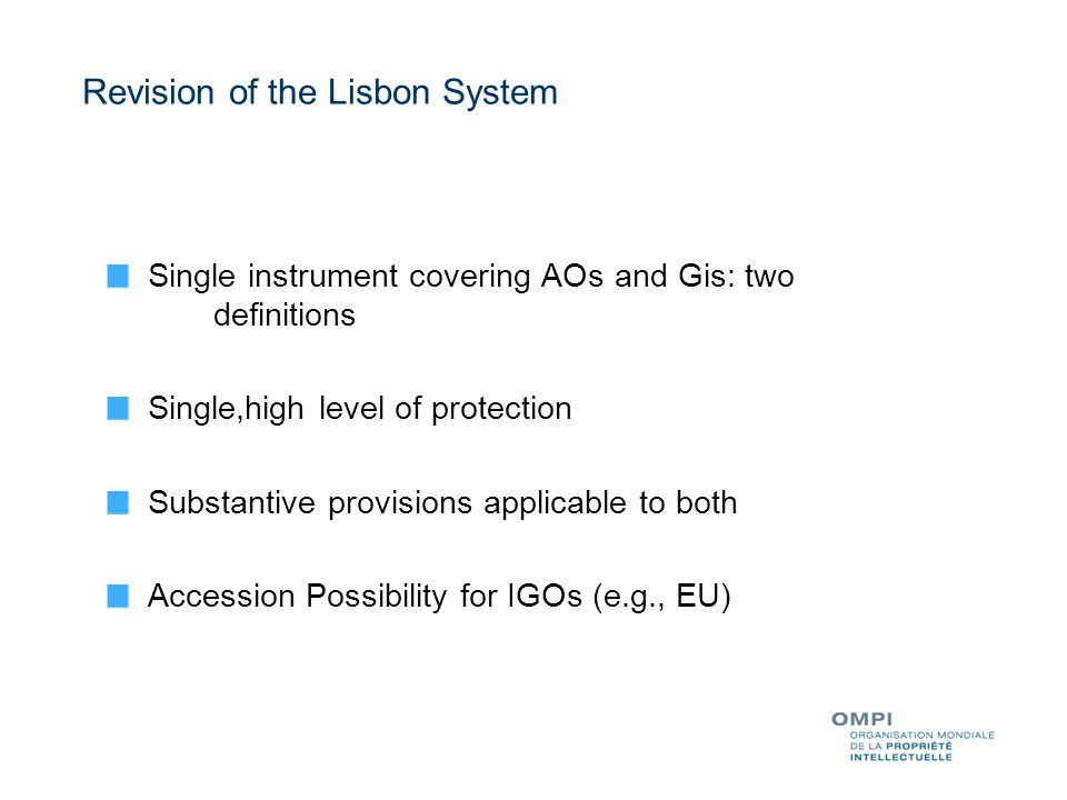 Single instrument covering AOs and Gis: two definitions Single,high level of protection Substantive provisions applicable to both Accession Possibility for IGOs (e.g., EU) Revision of the Lisbon System