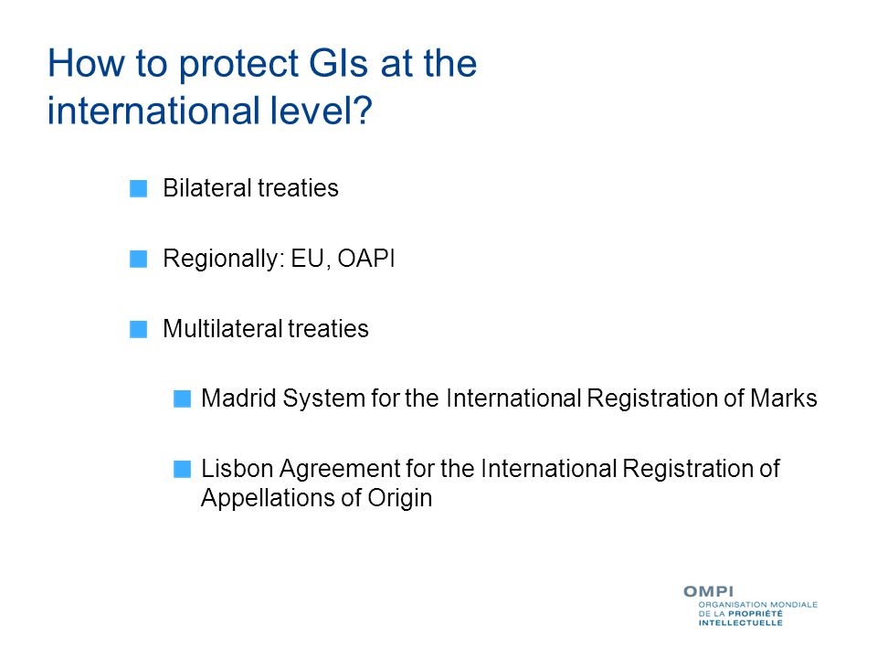 How to protect GIs at the international level.