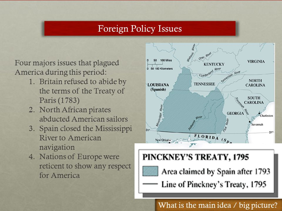 Foreign Policy Issues Four majors issues that plagued America during this period: 1.Britain refused to abide by the terms of the Treaty of Paris (1783) 2.North African pirates abducted American sailors 3.Spain closed the Mississippi River to American navigation 4.Nations of Europe were reticent to show any respect for America