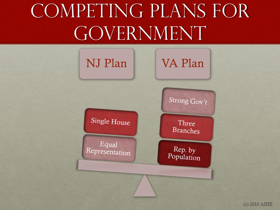 Competing Plans for Government NJ PlanVA Plan Rep.