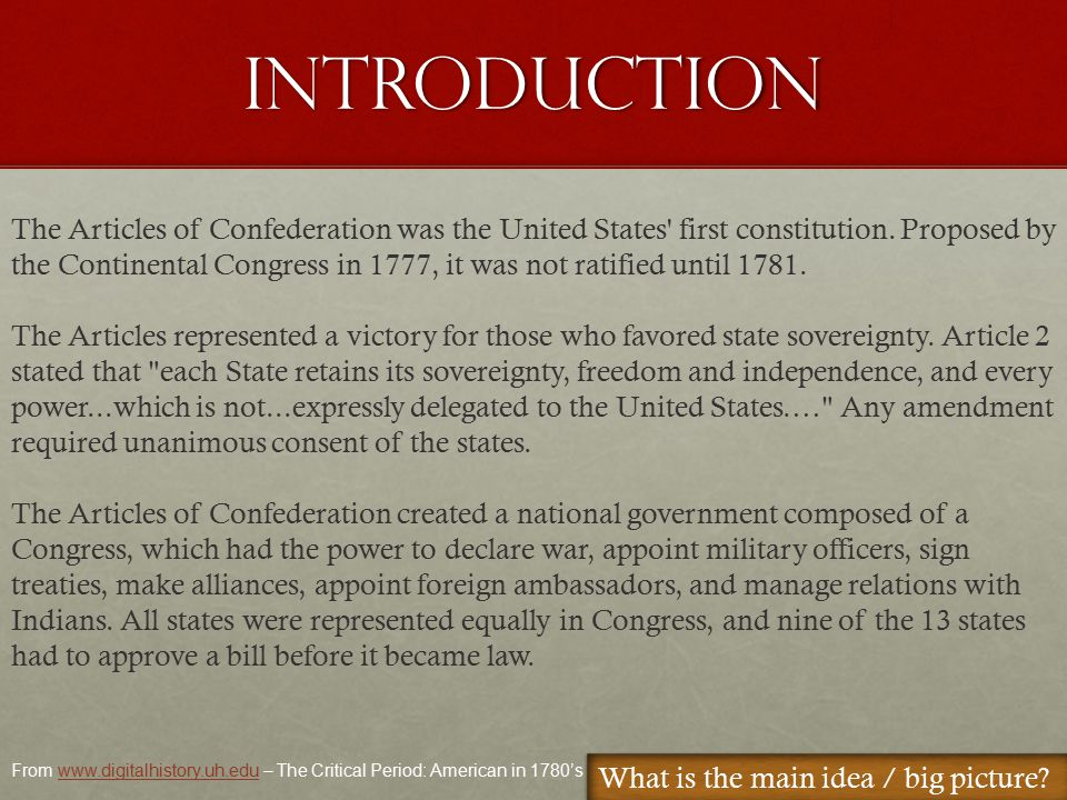 Under the Articles, the states, not Congress, had the power to tax.