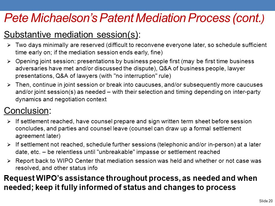 Pete Michaelson's Patent Mediation Process (cont.
