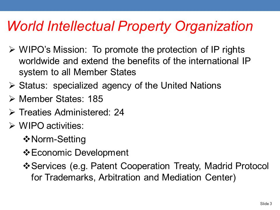 Slide 3 World Intellectual Property Organization  WIPO's Mission: To promote the protection of IP rights worldwide and extend the benefits of the international IP system to all Member States  Status: specialized agency of the United Nations  Member States: 185  Treaties Administered: 24  WIPO activities:  Norm-Setting  Economic Development  Services (e.g.