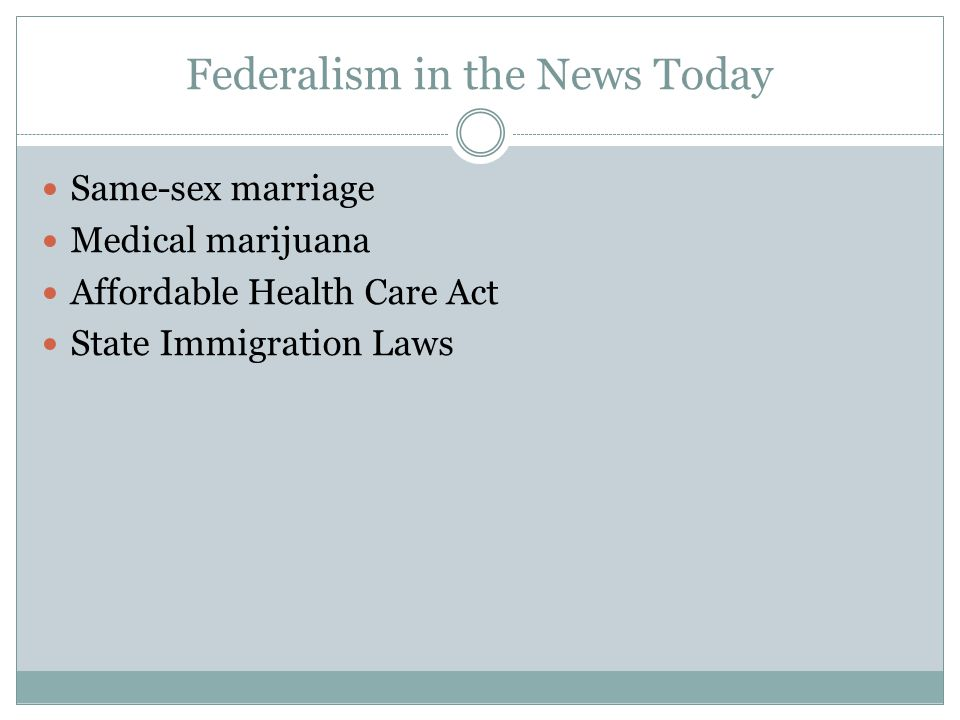 Federalism in the News Today Same-sex marriage Medical marijuana Affordable Health Care Act State Immigration Laws
