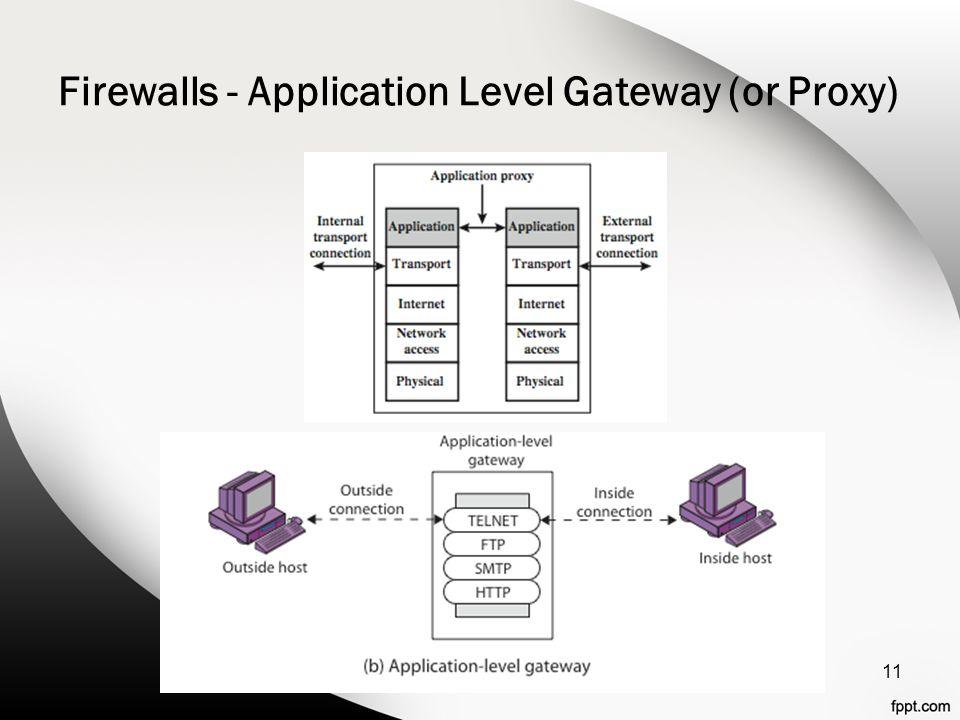 Firewalls - Application Level Gateway (or Proxy) 11