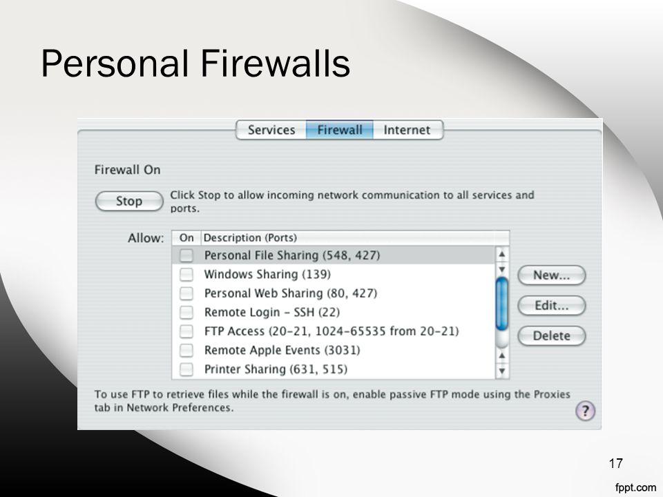 Personal Firewalls 17