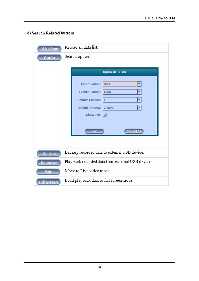 28 CH 3 How to Use 6) Search Related buttons Reload all data list. Search option. Backup recorded data to external USB device. Playback recorded data