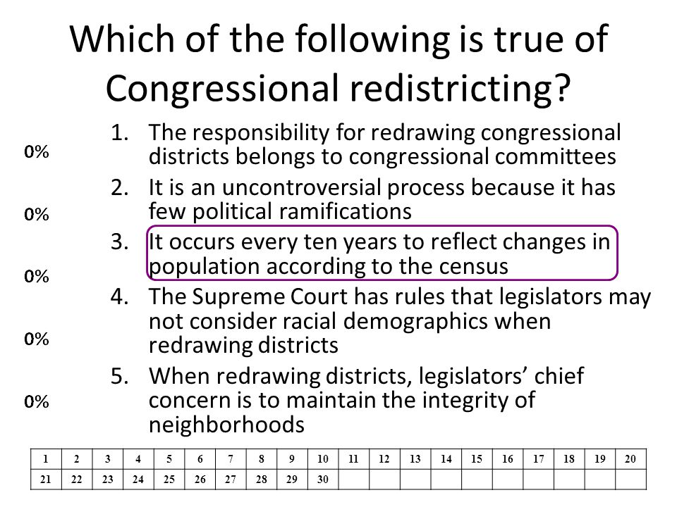 Which of the following is true of Congressional redistricting? 1.The responsibility for redrawing congressional districts belongs to congressional com