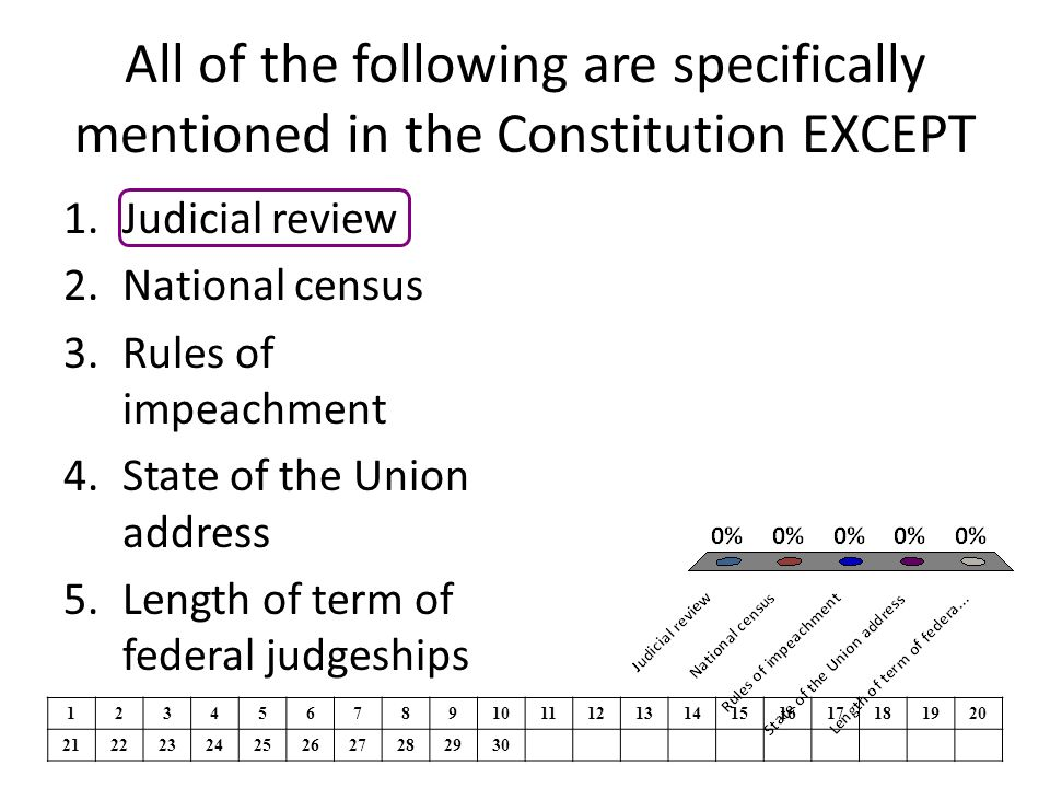 The line-item veto was found unconstitutional because 1.It gave executive powers to the legislature 2.It gave legislative powers to the bureaucracy 3.It gave legislative powers to the president 4.It delegated too many powers to the states 5.It permitted the Senate to use judicial review to reverse the House 1234567891011121314151617181920 21222324252627282930