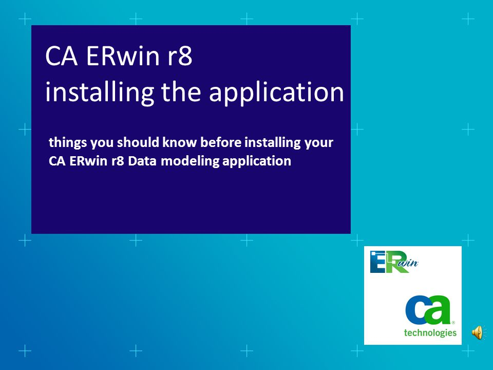 read & accept the End User's License Agreement (EULA) CA ERwin Data Modeler r8: Installing the Application Text-only option After some initialization, you will be presented with the EULA