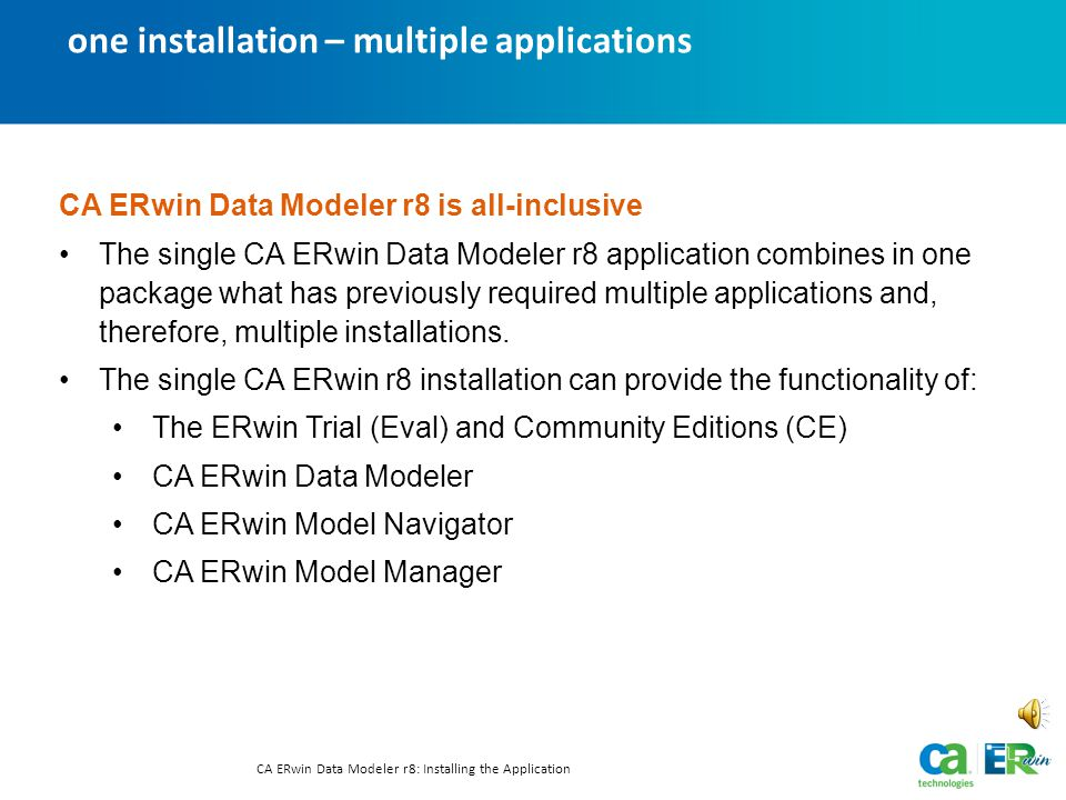 several applications in one CA ERwin Data Modeler r8: Installing the Application Text-only option One Application—Many Jobs