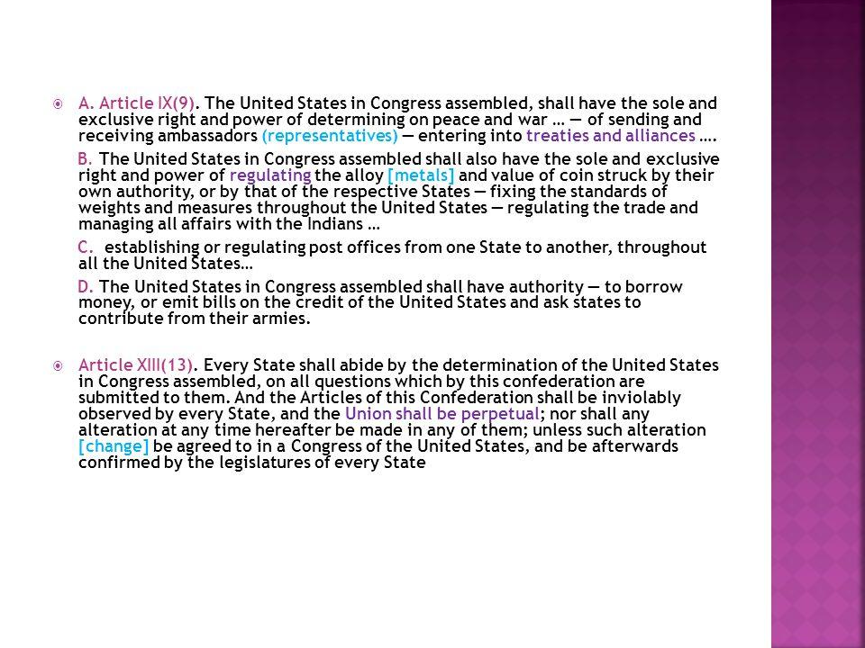  A. Article IX(9).