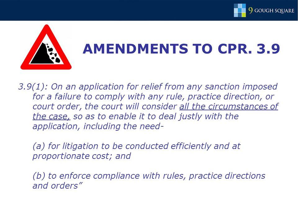 AMENDMENTS TO CPR.
