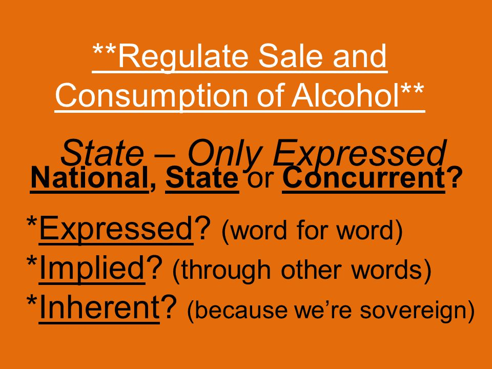 **Regulate Sale and Consumption of Alcohol** *Expressed.