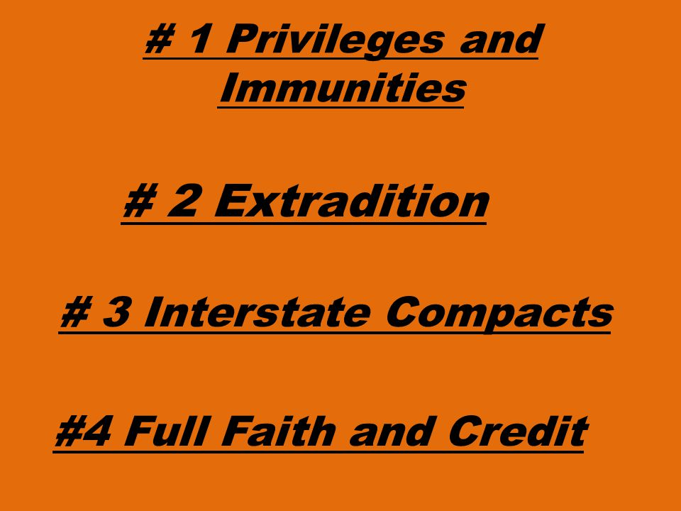 # 1 Privileges and Immunities # 2 Extradition # 3 Interstate Compacts #4 Full Faith and Credit