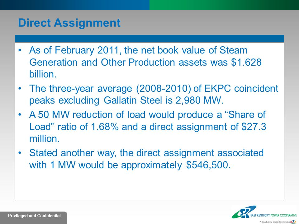 Privileged and Confidential Direct Assignment As of February 2011, the net book value of Steam Generation and Other Production assets was $1.628 billion.