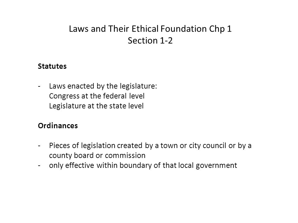 Case Law -Created by the judicial branch of a government -Made after a trial has ended and one of the parties has appealed the result to a higher court -Based on legal issues arising from rulings made by the lower court -New or more appropriate rules for future similar cases may be stated in the courts published ruling -stare decisis - let the decision stand lower courts must follow established case law in similar cases Laws and Their Ethical Foundation Chp 1 Section 1-2